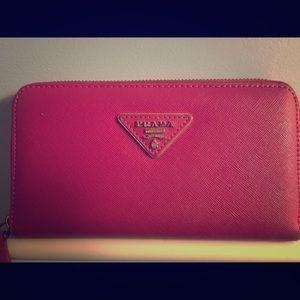 Prada  saffiano leather zippered wallet